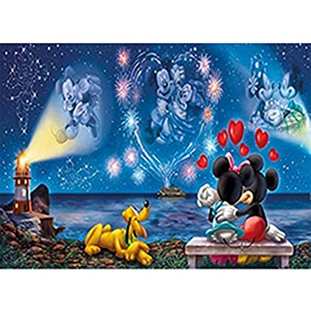 2 PACK Disney Night DIY 5D Diamond Painting Kits Mickey Mouse Disney Theme,Full Drill Diamond Paint by Number for Adults Kids,with Light Drill Pen