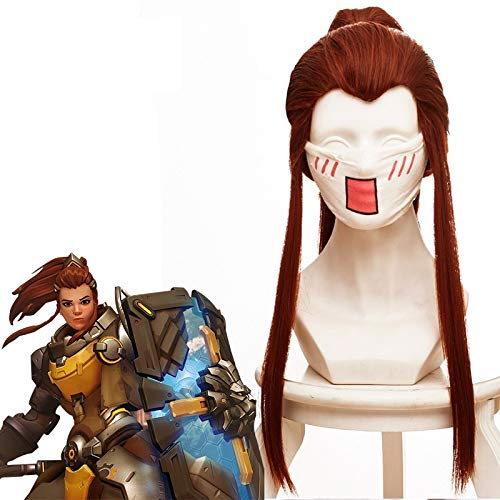 Game OW Brigitte Lindholm Cosplay Wigs Long Red Brown Heat Resistant Synthetic Hair Wig +...
