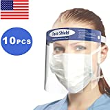 Hydraskincare 10pcs Saftt face shield Safety Face Shield Reusable Full Face Transparent Breathable Visor Windproof Dustproof Hat Shield Protect Eyes And Face With Protective Clear Film Elastic Band