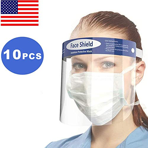 Californiamicroneedle 10 Pack Reusable Safety Face Shield, Transparent Protective Sheild,Anti-Saliva Windproof Dustproof Full Face Cover Hat for All Kind People