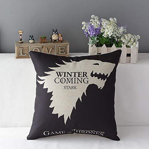 iksrgfvb Game of Thrones Pattern Drama Logo Cushion Case Black Blue Throw Pillowcase Vintage Decorative Pillows Cover 45x45cm