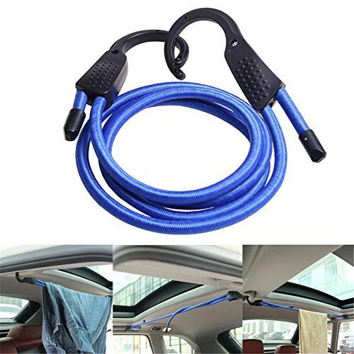 VIONNPPT Instellbar Haken Spannseil, 150cm verstellbare elastische Spanngurte Gepäckgurte Seile Gürtel Wäscheleine mit Haken für Auto, Motorrad, Fahrrad, Gepäck (Blau)