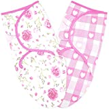 Swaddle Blankets for Baby Girl, 0-3 Months Old Small/Medium, 2 Sets of Infant Adjustable Swaddles Wrap Sack, 0.5 TOG Breathable Cotton, Buffalo Plaid/Floral