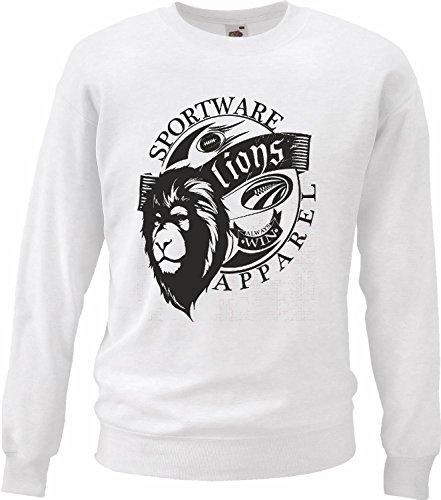 Sweatshirt Sport Ware Leeuw Leeuw Leeuw Dieren Leeuw Big Cat King of Prey Wilddier Tijger Reclamatie National Park Simba in White