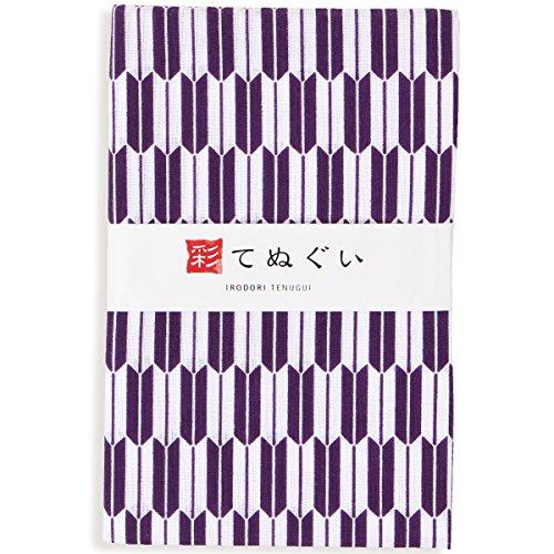 彩(irodori) 小紋手ぬぐい 矢絣(紫) ほつれ防止加工なし 岡生地 34×90cm TE-06100-IR