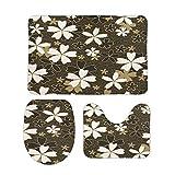 FoDuoDuo, set di 3 tappeti da bagno classici giapponesi Sakura Floral tappeti da bagno a forma di U, copertura per coperchio WC, 50 x 80 cm, antiscivolo in velluto corallo