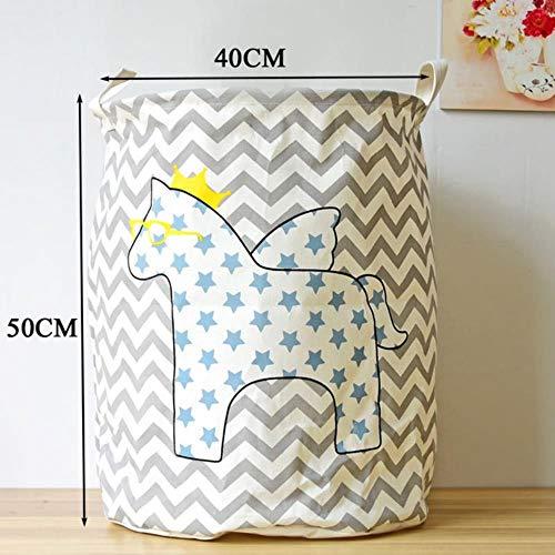 LCZMQRCLMZRQ 40 * 50 cm Cartoon Opvouwbare Wasmand Streep Katoen Opslagvat Vuile Kleren Wasmand Speelgoed Opslagemmer, sterpaard