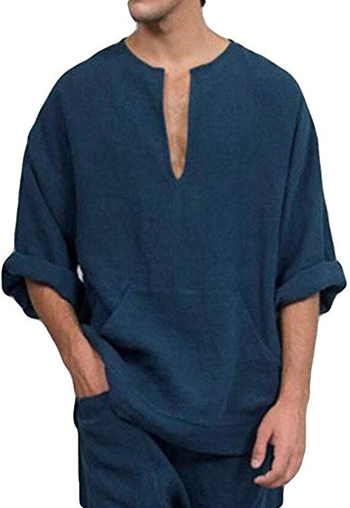 Mens V Neck Cotton Linen Henley 4 3 Banded Max 66% OFF Opening large release sale Collar Sleeve Shirts