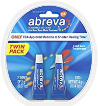 Abreva Docosanol Cold Sore Treatment 10% Cream Tube, Only FDA Approved Treatment for Cold Sore and Fever Blister, 2g Tube (Pack of 2)
