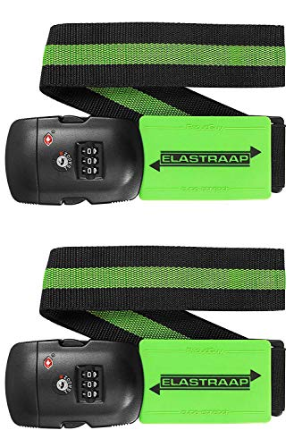 Luggage Strap ELASTRAAP Superior Strength NON-SLIP with TSA Combination Lock - 2 Sets Lime
