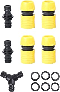 Balacoo Drip Irrigation Fittings Kit Couplings Tees Tubing Line Connectors for Garden Watering (Black and Yellow)