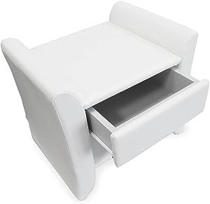 [corium] Mesilla de noche tapizada (blanca) (47cm x 37cm x 44cm) Mesita de noche con cajón y compartimento / tapizada de cuero sintético / Mesa auxiliar mesa dormitorio