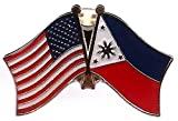 Box of 12 Philippines & US Crossed Flag Lapel Pins, Filipino & American Double Friendship Pin Badge