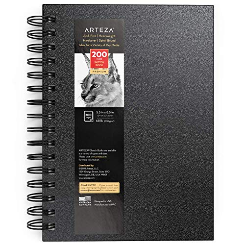Arteza Sketch Book, 5.5x8.5-inch, Black Drawing Pads, 100 Sheets, 68 lb 100 GSM, Hardcover Sketchbook, Spiral-Bound, Use with Pencils, Charcoal, Pens, Crayons & Other Dry Media