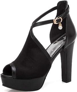 b4bc7f2eb DoraTasia Women s Platform High Heel Sandal Open Toe Ankle Buckle Pumps T  Strap Summer Evening Dress