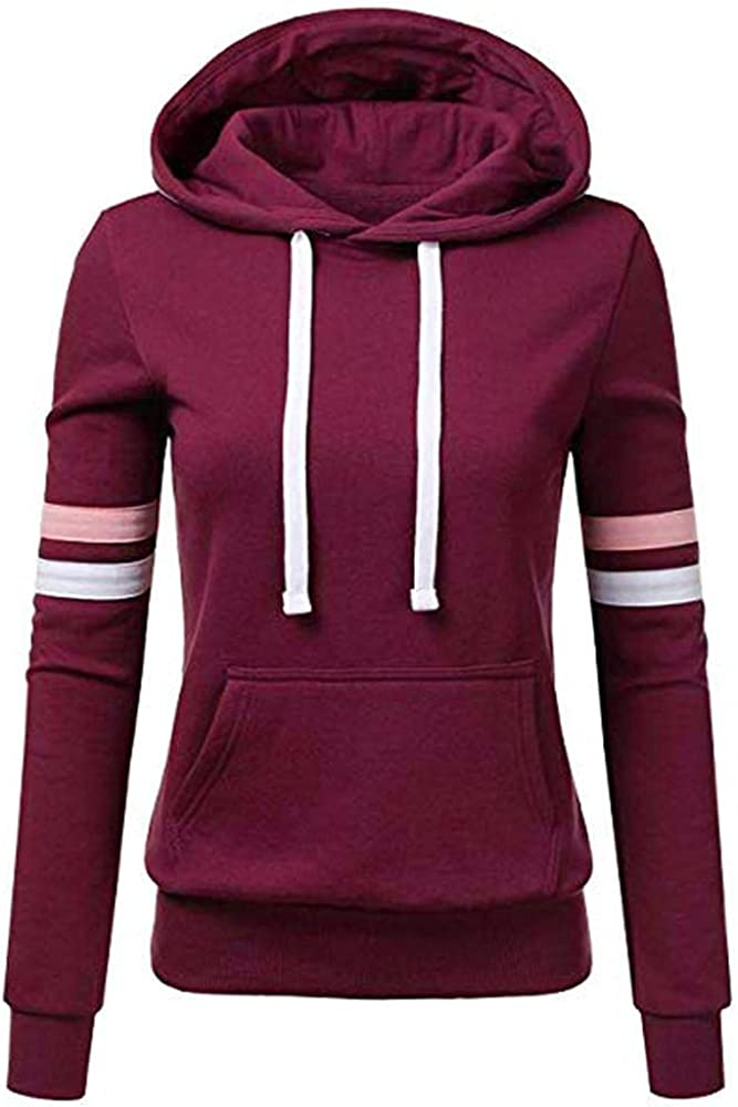 UQGHQO Zip Up Hoodies for Women, Women's Long Sleeve Contrast Color Pullovers Casual Drawstring Sweatshirt with Pocket