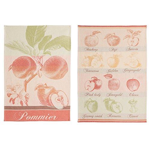 Coucke Lot de 2 torchons Pommes, Coton, Rouge, 75x50 cm