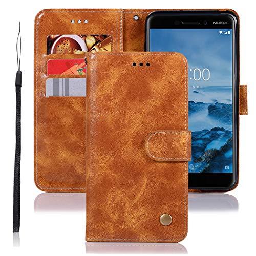 Jhxtech Nokia 6.1 Hülle, Nokia 6 2018 Lederhülle, Premium PU Leder Flip Wallet Hülle Cover [Kartenfächer] [Ständer] [Magnetverschluss] für Nokia 6 2018 / Nokia 6.1 (Khaki)