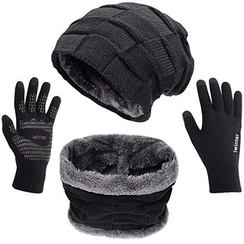 Petrunup 3Pcs Wintermütze Handschuhe Schal Herren, Slouch Beanie Halswärmer und Handschuhe Touchscreen mit Futter, Schwarz