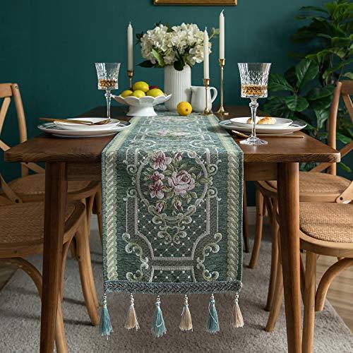 L/S Grün Tischläufer Retro Vintage Barock Blumenmuster Abwaschbar Elegant Tischband Tisch Läufer für Party Bankett Hochzeit Weihnachten 140x33cm