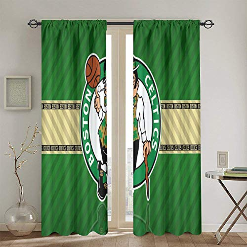 Dopy Boston Curtain 2 Panels Bedroom Room Basketball Decorative Window 90% Blackout for Living Room Thermal Insulated Privacy 52 X 72 Inch