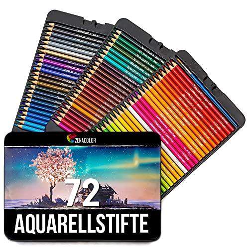Zenacolor Aquarellstifte - 72 Aquarell Farbstifte mit Pinsel in Metallhülle - einzigartige, wasserlösliche Buntstifte von hoher Qualität für Kinder und Erwachsene