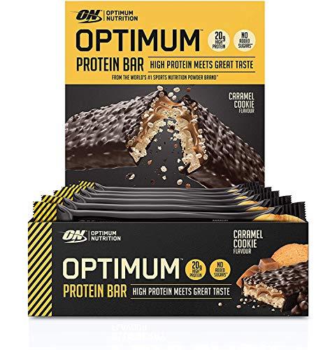 Optimum Nutrition Protein Bar 10 Barrette Proteiche con Proteine Whey Isolate in Polvere, Biscotto al Caramello, Scatola di 10 x 60 g