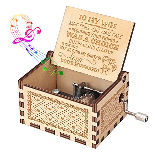 Music Box Gift for Wife from Husband - Hand Crank Engraved Musical Box Vintage Personalizable Romantic Gift to My Wife on Birthday Anniversary Valentines Day - You are My Sunshine Wooden Music Box