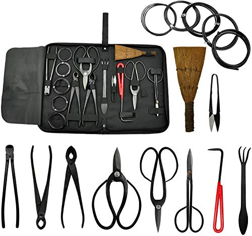 Voilamart 10 Pieces Gardening Bonsai Tool Sets Carbon Steel Garden Plant Trimming Kit Scissor Cutter Shear Heavy Duty Nylon Case Outdoor Entrenching Tools