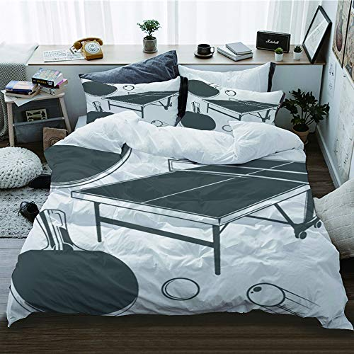 WOTAKA Bettwäsche-Set 3 teilig,Tischtennisplatte Tischtennisschläger Tischtennis kleine Kugel,Mikrofaser Bettbezug und Kissenbezug (1 * 220 x 240cm + 2 * 50x 80 cm)
