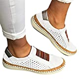 Gibobby Sneakers for Women Wide Width,Slide Hollow-Out Round Toe Casual Flat Shoes Slip On Shoes Flat Sneakers Fashion Casual Breathable Shoes for Women