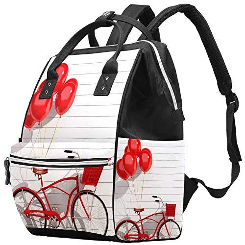 Mochila multifunción grande para pañales de bebé, diseño retro de bicicleta roja con cesta y globos en la parte delantera de la pared blanca, bolsa de pañales para mamá y papá
