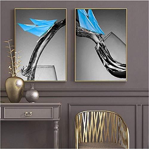 Nordic Creatieve Zwarte Witte Wijn Glas Muurschilderingen Canvas Blauwe Zeil Muur Kunst Prints en Posters Woonkamer Huisdecoratie 60x90cmx2 unframed