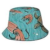 Sombrero submarino Vector Set Verano Pescador Cap Beach Sun Sombreros Pesca Gorras Gorra de béisbol Unisex Plegable Bucket Sombreros Negro
