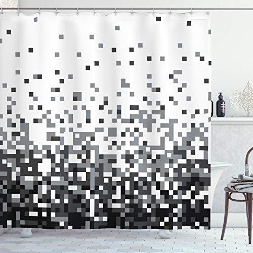 ABAKUHAUS Geometrisch Duschvorhang, Squares Graustufen, mit 12 Ringe Set Wasserdicht Stielvoll Modern Farbfest & Schimmel Resistent, 175x180 cm, Grau Dunkelgrau Weiß