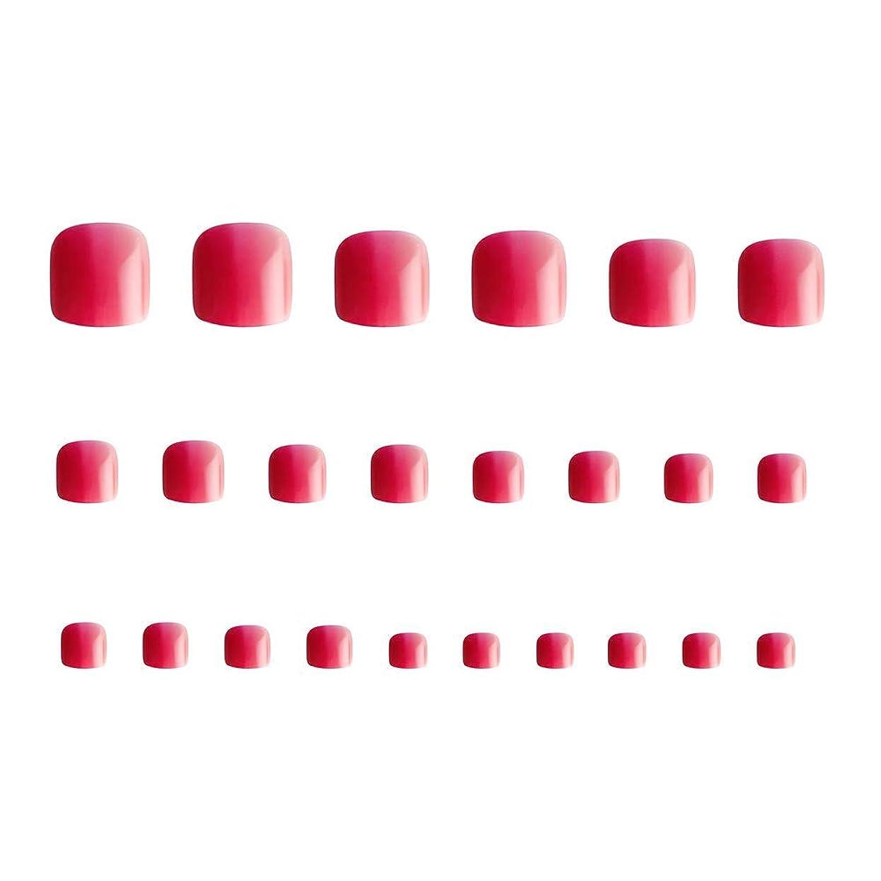 恐れ同時調和のとれた24枚 12別サイズ つや 足の爪 ピンク グラデーション 短い 四角形ネイルチップ フルカバー