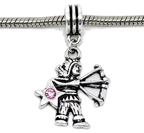 Buckets of Beads Pink Rhinestone Sagittarius Dangle Charm Fits Most Major Charm Bracelets For Women Girls