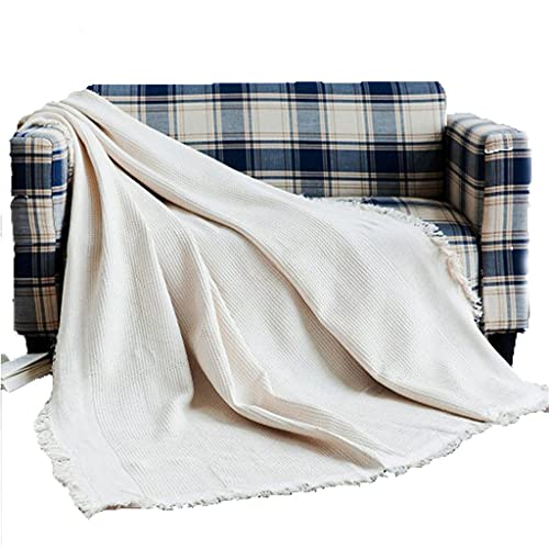XJJZS Manta de sofá de estilo europeo, manta geométrica de punto de nido de abeja, manta blanca de ocio, sofá antideslizante grueso (Color : White, Size : 90x150cm)
