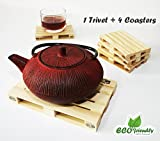 Miniature Wood Pallet Trivet and Wood Pallet Coasters Set of 4. Hot Pads To Protect Your Table and 4 Drink Coasters For Hot Drinks, Beer, Wine (1 Trivet, 4 Coasters)