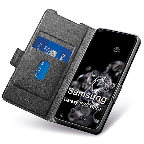 Aunote Samsung Galaxy S20 Ultra Hülle, Galaxy S20 Ultra Schutzhülle mit Kartenfach, Handyhülle Tasche, Leder Etui Folio Flip Cover Hülle, PU TPU Klapphülle Komplettschutz S20U 6.9 Zoll Phone. Schwarz