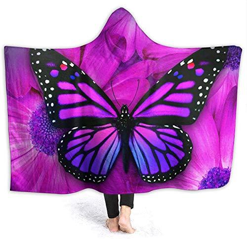 Mantas con Capucha de Flores y Mariposas moradas Hombres Mujeres Niños Franela Fleece Manta de Tiro de Felpa Mantas térmicas Ligeras Mantas Cool Funny 3D Print Manta usable
