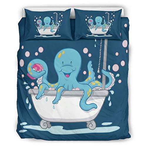 Tentenentent Octopus Taking Bath Tub Tagesdecken-Bettwäscheset European Style 3-teilig Kopfkissen- und Kopfkissenbezüge - Haltemikrofon Soft Bohemia Bettwäscheset white3 168x229cm