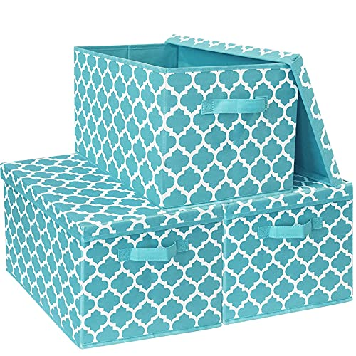 Storage Boxes with Lids Large, Foldable Toy Box Chest for Kids Children Boys, Fabric Cube Organiser Basket Containers for Clothes, Bedroom, Shelves, Blanket, Towels, Blue, 3pcs Pack, 40.5x30.5x26cm