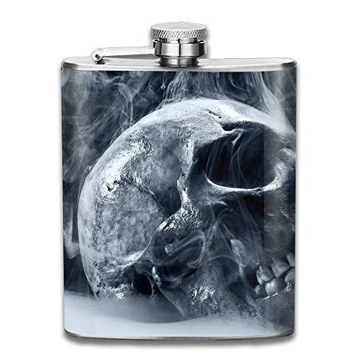 Presock Flachmann,Stainless Steel Hip Flask 7 Oz (No Funnel) Smoky Skull Gothic Art Full Printed