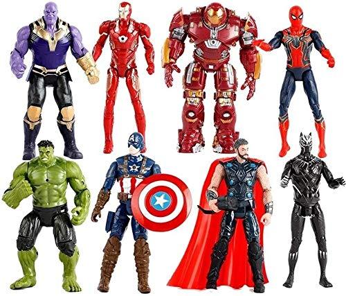 Zfggd Fting Modelo de Juguete Set - Spider-Man/Hulk/Thanos/Iron Man Capitán América / / Anti-Hulk // Panther/Raytheon actionfigure - Boy Regalo de cumpleaños Conjunto de Juguete