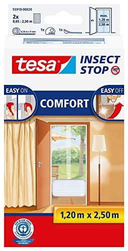 tesa Insect Stop COMFORT Fliegengitter für Türen / Insektenschutz mit selbstklebendem Klettband in Weiß / 2 x 65 cm x 250 cm