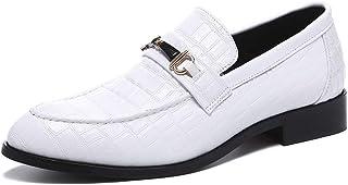 [HTAO] メンズ スリッポン ビジネスシューズ 紳士靴 ローカット ローファー 通勤 通気性 24.5-29cm 白/黒