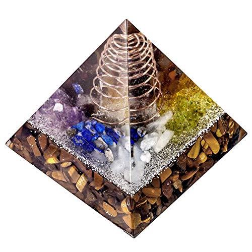 ZTTT Kristallpyramide mit Kupferdraht-Rock-Quarz-Punkt (Color : Tigers Eye Stone)