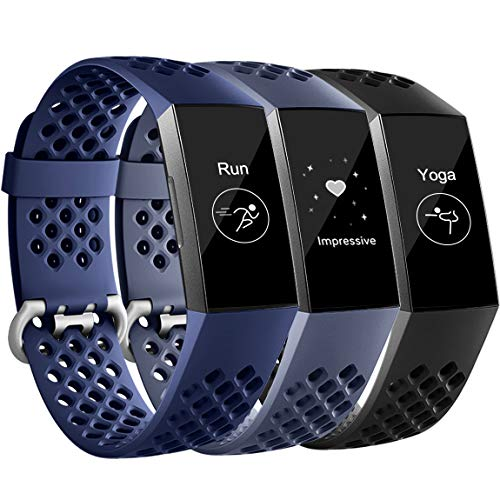 Maledan Compatible with Fitbit Charge 3 and Charge 4 Bands for Women Men, Replacement Breathable Sport Band for Charge 4/Charge 3/Charge 3 SE, 3 Pack, Black/Navy Blue/Blue Gray, Large