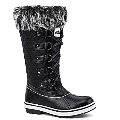 ALEADER Women's Lace Up Waterproof Winter Snow Boots Black 9 D(M) US